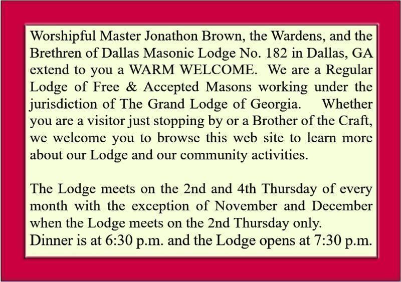 Dallas masonic lodge 182 fam 120 main street po box 620 our newest master mason brother michael david jones m4hsunfo
